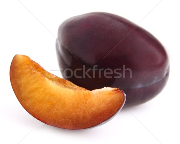 Süß Pflaume Scheibe Gesundheit Ernährung Stock foto © Dionisvera
