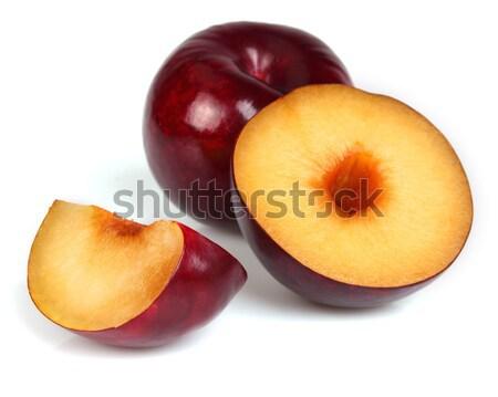 Fraîches prune blanche tranches santé nutrition Photo stock © Dionisvera