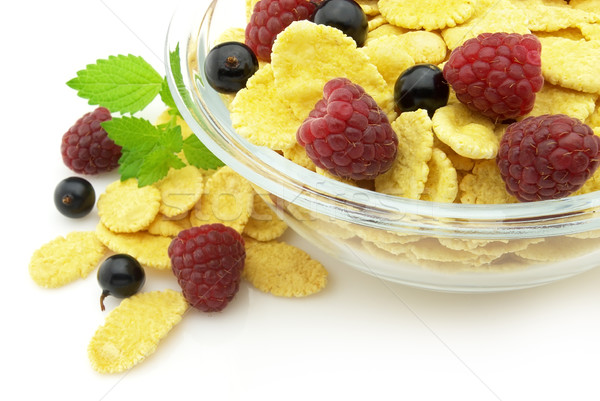 Corn flakes with fruits Stock photo © Dionisvera