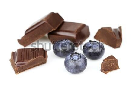 Heidelbeere Schokolade Zartbitter-Schokolade Essen Natur candy Stock foto © Dionisvera