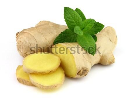 Foto stock: Gengibre · de · branco · medicina · quente · ramo