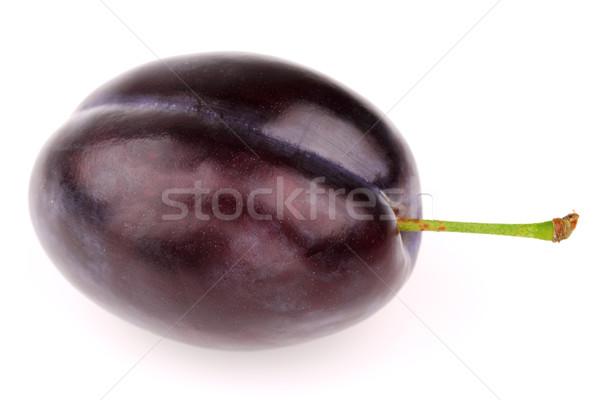 Jeden dojrzały śliwka biały żywności owoców Zdjęcia stock © Dionisvera