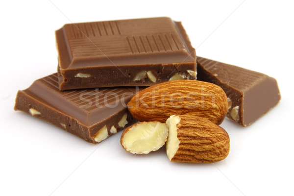 Chocolate with almonds Stock photo © Dionisvera