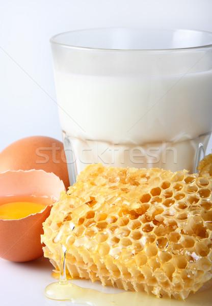 Süt bal sağlık beslenme beyaz temizlemek Stok fotoğraf © Dionisvera