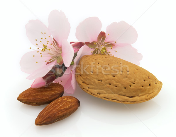 Stock photo: Dried almonds with pink flowers
