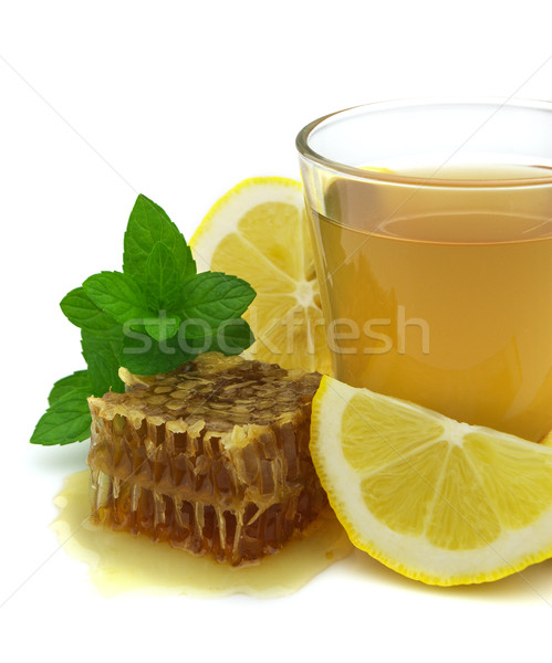 çay bal limon meyve cam yeşil Stok fotoğraf © Dionisvera