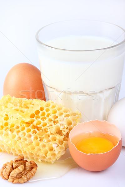 Tej tojások fehér tiszta méz hideg Stock fotó © Dionisvera