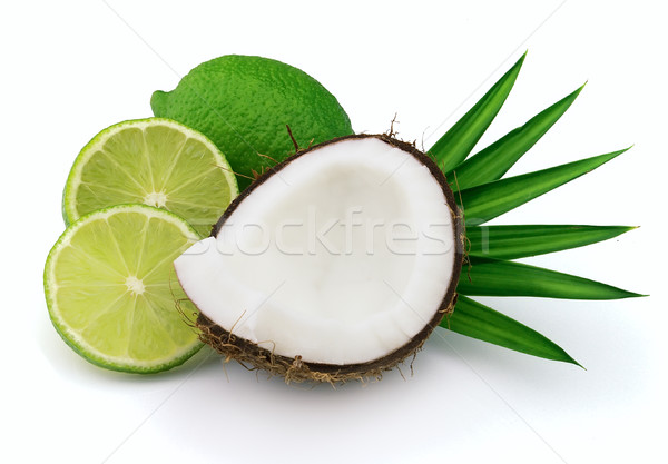 Coconut with lime Stock photo © Dionisvera