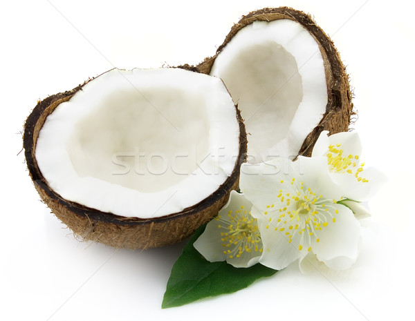 Coconut with flowers Stock photo © Dionisvera