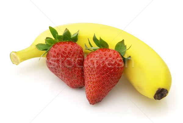Fraise banane fruits usine tropicales blanche Photo stock © Dionisvera