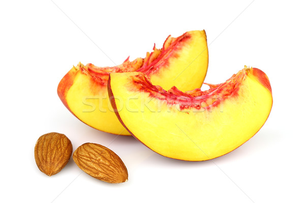 Nectarina fatias comida branco pêssego Foto stock © Dionisvera
