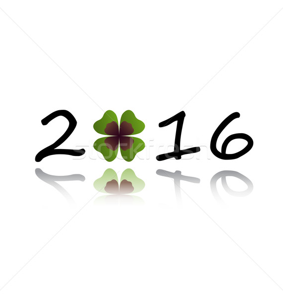 2016 greeting card with shamrock leaf  Stock photo © dip
