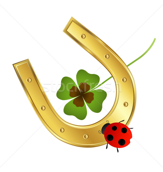 Photo stock: Coccinelle · Horseshoe · Shamrock · feuille · printemps · fond