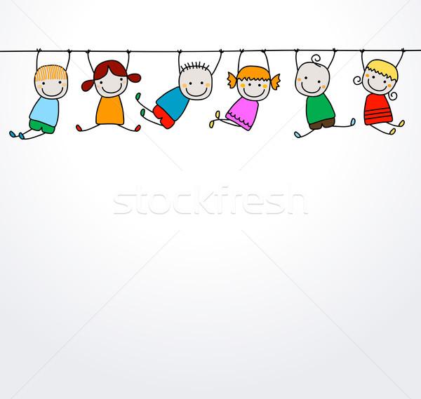 Gelukkig kinderen spelen handen glimlach kinderen ogen Stockfoto © dip