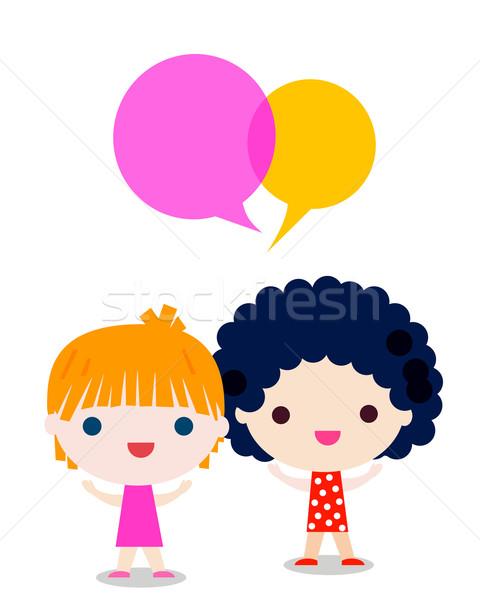 Filles parler enfants yeux design éducation Photo stock © dip