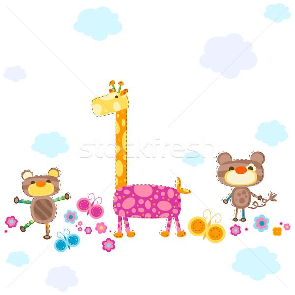 Aranyos állatok textúra felhők tavasz buli állatok Stock fotó © dip