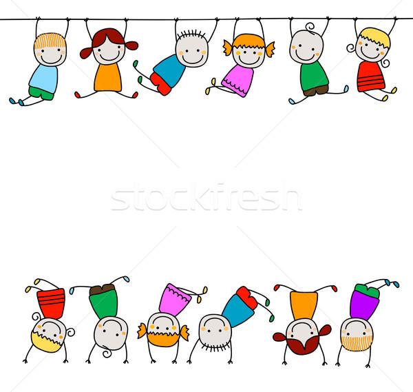 Feliz crianças brincando mãos sorrir crianças olhos Foto stock © dip