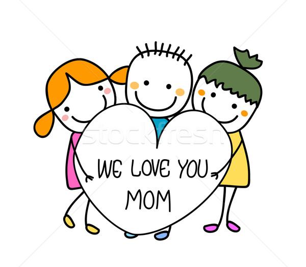 Feliz dia das mães sorrir escolas crianças olhos coração Foto stock © dip