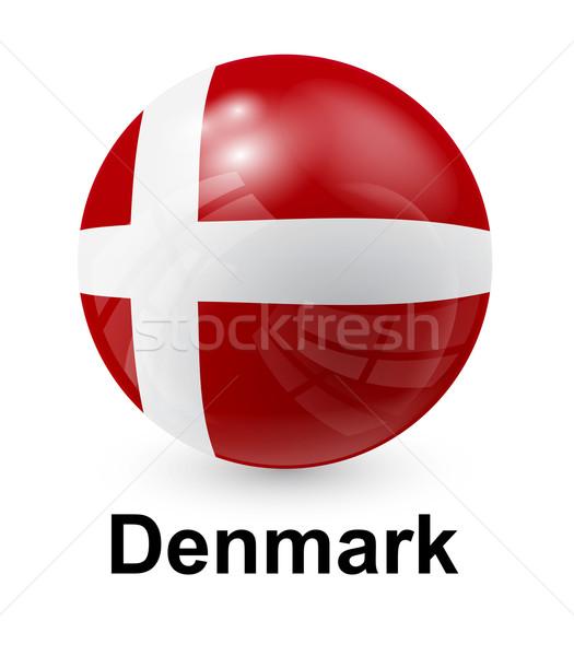 Dánia zászló fény világ felirat labda Stock fotó © dip