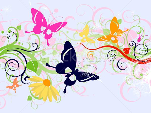 Foto stock: Floral · projeto · verão · borboletas · flores · textura