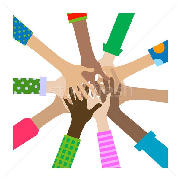 Mãos diverso união grupo equipe cores Foto stock © dip