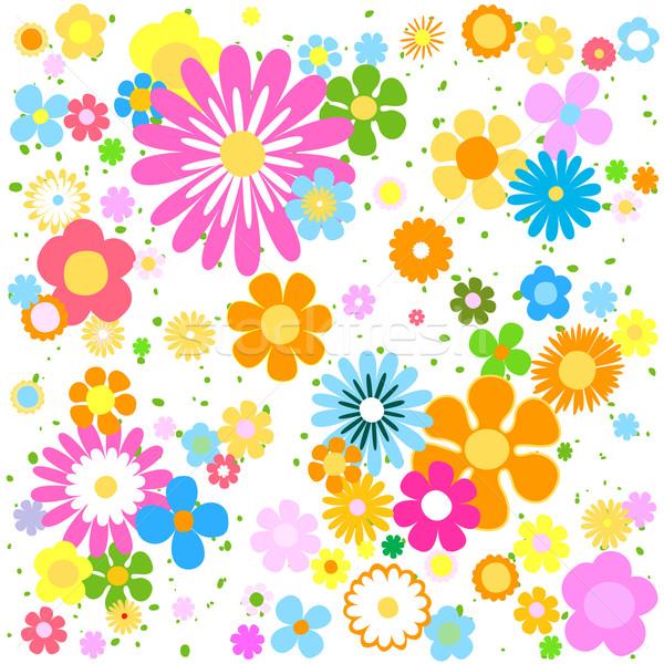 Foto stock: Flores · natureza · fundo · azul · tecido · retro