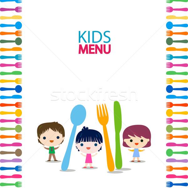 Menu enfants design enfants heureux éducation Photo stock © dip