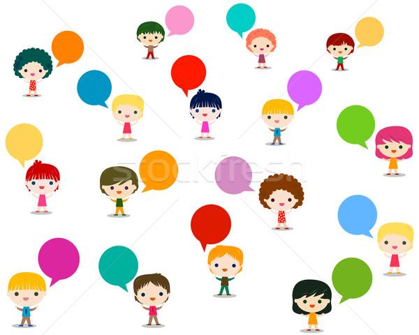 Enfants parler enfants école yeux design Photo stock © dip