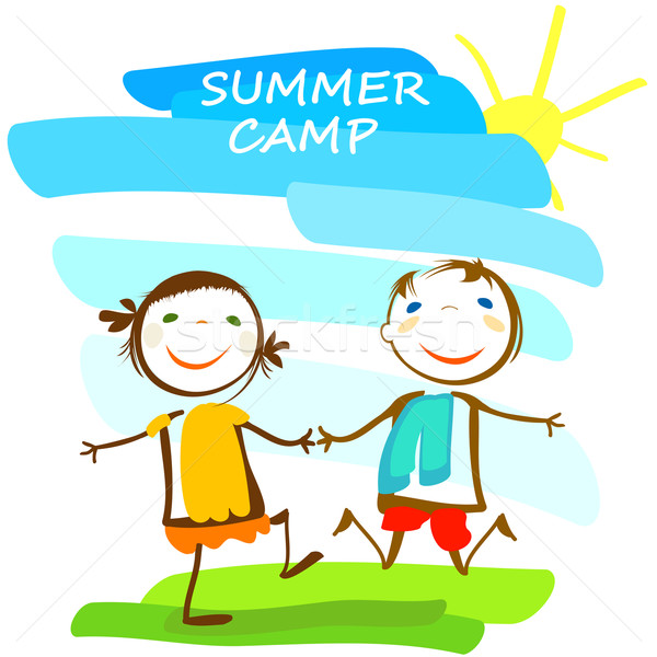 Yaz kampı poster mutlu çocuklar güneş manzara Stok fotoğraf © dip