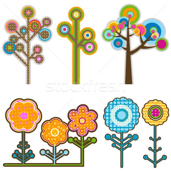 Fák virágok retró stílus tavasz terv retro Stock fotó © dip