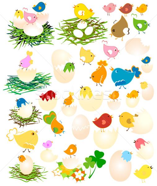 Stok fotoğraf: Paskalya · tavuk · ayarlamak · yumurta · bahar · dizayn