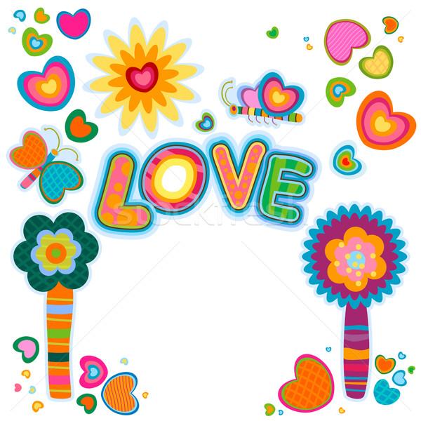 Szeretet retro terv fantázia virágok szív Stock fotó © dip