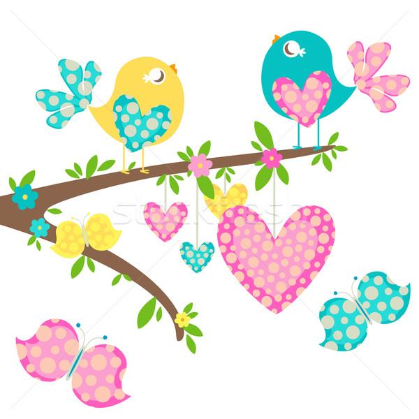 Primavera aves amor corações páscoa borboleta Foto stock © dip