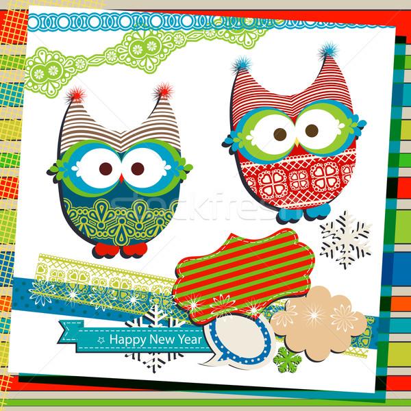 Zimą album na wycinki szablon cute sowy papieru Zdjęcia stock © dip