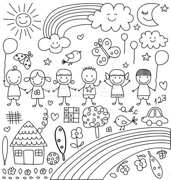 Foto stock: Criança · como · desenhos · conjunto · crianças · nuvens