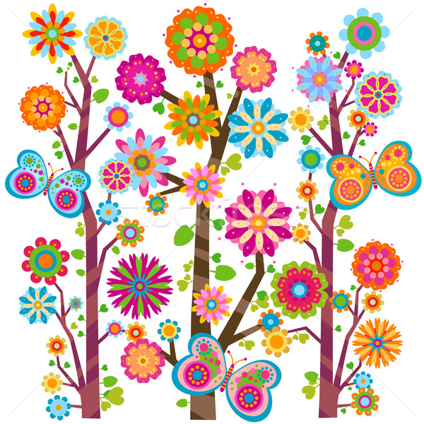 floral tree and butterflies Stock photo © dip