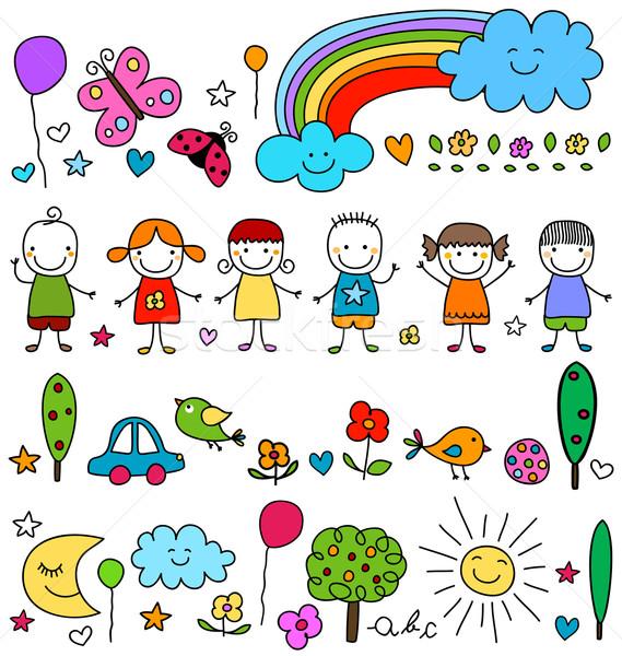 Foto stock: Bonitinho · crianças · natureza · elementos · padrão · flores