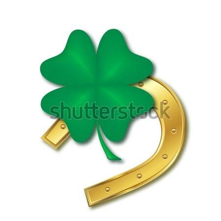 Horseshoe quatre feuille trèfle design jour de St Patrick Photo stock © dip