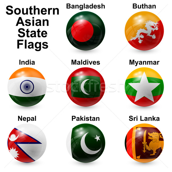 Stock fotó: Labda · zászlók · déli · ázsiai · terv · világ