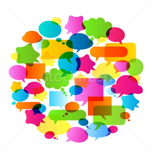 пузырьки речи красочный дизайна фон синий Сток-фото © dip