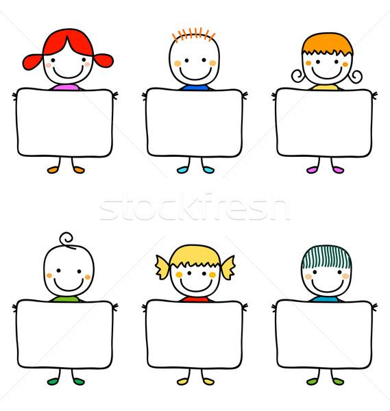Feliz crianças mãos sorrir olhos cabelo Foto stock © dip