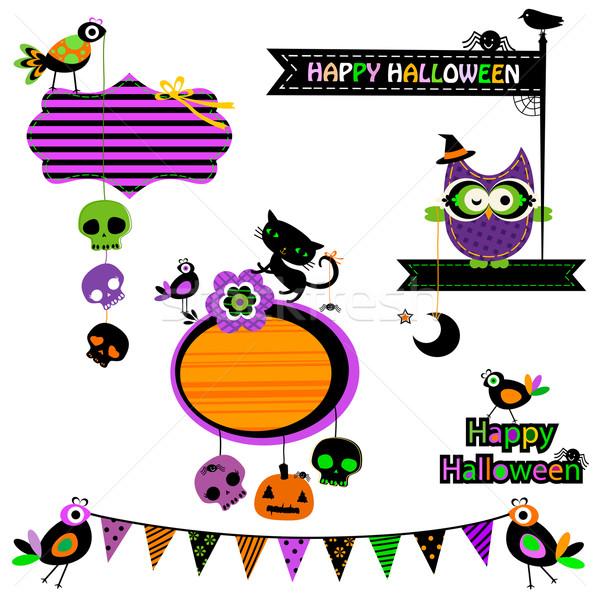 Halloween divertente design elementi set fiore Foto d'archivio © dip