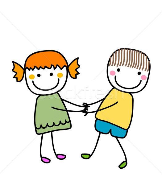 Meisje jongen holding handen glimlach kinderen gelukkig Stockfoto © dip
