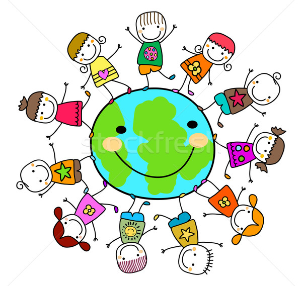 happy kids playing around the earth planet Stock photo © dip