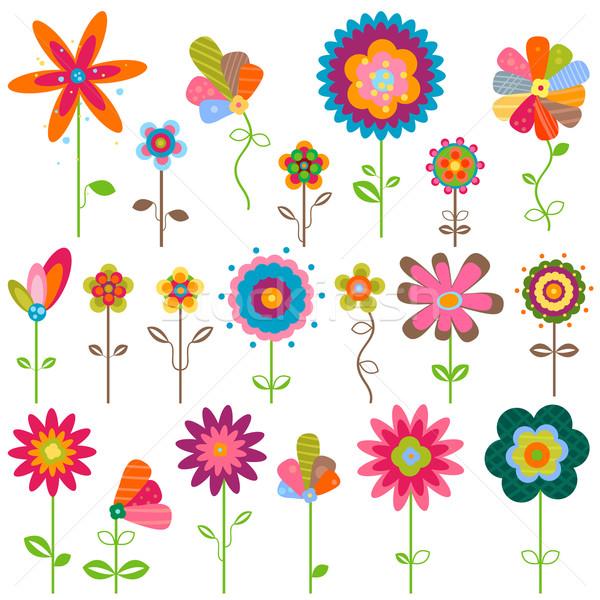 Foto stock: Retro · flores · fantasia · conjunto · primavera · natureza