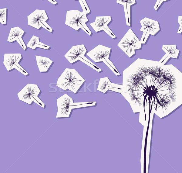 Stock fotó: Sziluettek · pitypang · szél · virág · fény · művészet