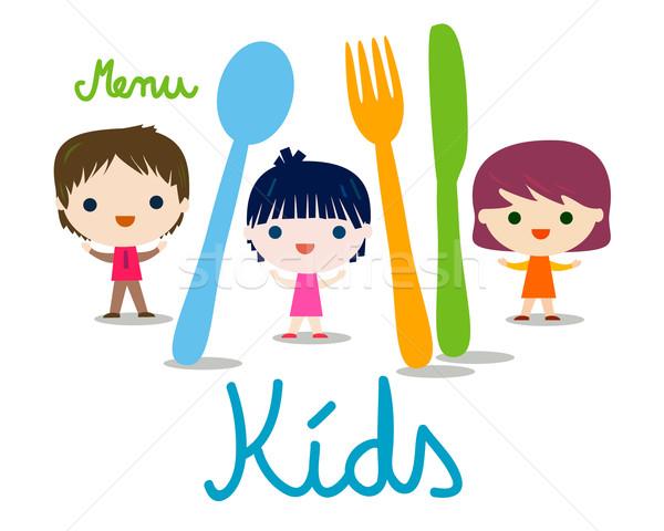 Foto stock: Ninos · menú · ilustración · bebé · ojos · diseno