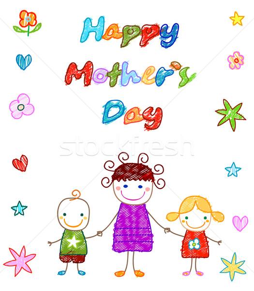 Feliz dia das mães cartão flores família sorrir escolas Foto stock © dip