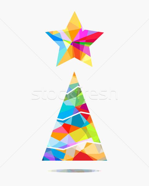 árvore de natal projeto colorido árvore estrela papel de parede Foto stock © dip