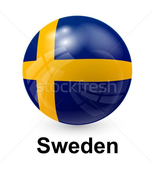 Szwecja banderą świetle świat podpisania piłka Zdjęcia stock © dip